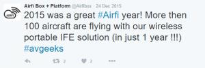 AirFi Tweet - Installed Base